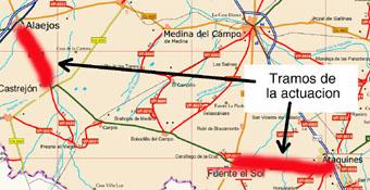 Tramos de actuación (en rojo) en la carretera que une ataquines y Alaejos, según el acuerdo del Consejo de Gobierno de la Junta de Castilla y León celebrado ayer.