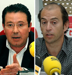 El concejal de Personal, Fernando Alonso (izq.) y el portavoz de la Sección de UGT, Pedro Estévez (Dcha.)