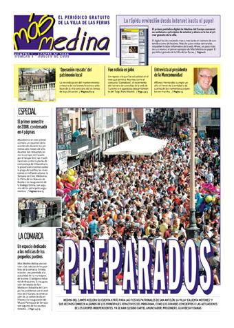 Portada del primer número de Más Medina, el periódico gratuíto de Medina del Campo.